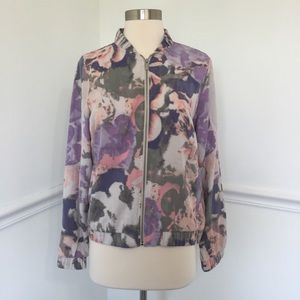 Juicy Couture Watercolors Floral Bomber Jacket.